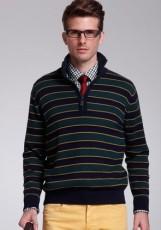 蓝绿条纹羊绒衫