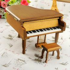 厂家供应金属脚踏原木色钢琴音乐盒八音盒