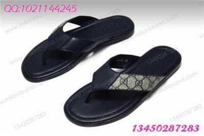 9423 真皮沙滩拖鞋 新款双G男鞋