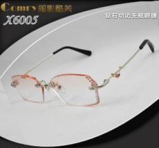X6005款韩国钻石切边近视无框眼镜架