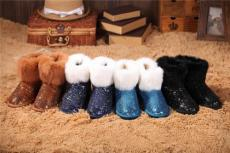 韓版女冬可愛短靴雪地靴 兔毛亮片雪地靴