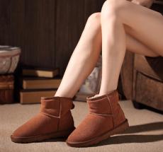 新品情侶短靴 真皮雪地靴牛皮男女款雪地靴