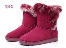 愛萊希新款真皮兔毛中筒靴毛毛雪地靴