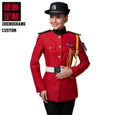 红色长袖女保安服秋装全套订做