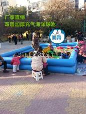 方形双层儿童充气海洋球池 加厚充气池子