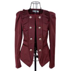 2014春装新款韩版无领双排扣女装小西装外套