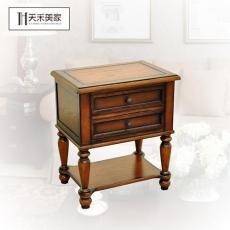 實木床頭柜 美式床頭柜 紅橡木簡約床頭柜